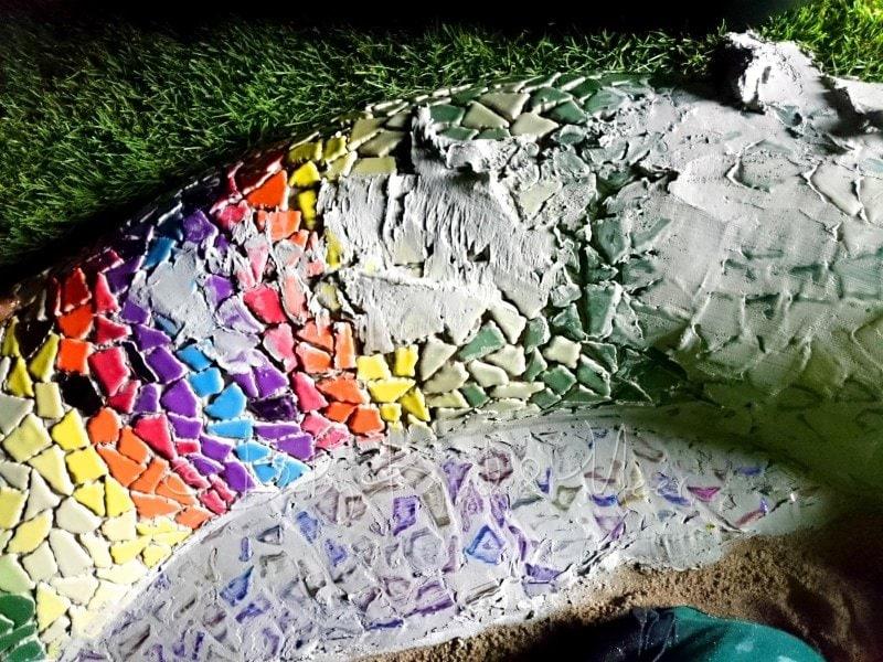 Mosaik Schlange verfugen (2)
