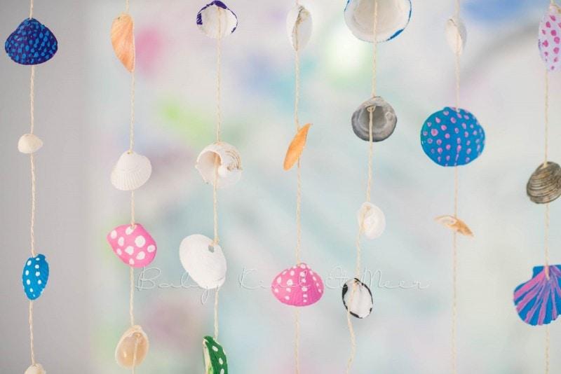 Muschel Windspiel DIY mit Kindern 15