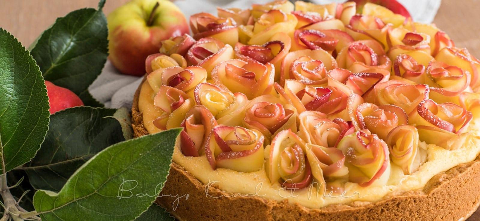 Apfelrosen Kaesekuchen babykindundmeer